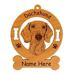 3039 Dachshund Head #3 Ornament Personalized with Your Dog's Name